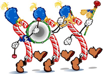 Candy canes marching